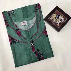 Full Length Printed Daily Wear Rayon Nighty, Large