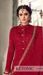 Eba Lifestyle Ketonic Chinon With Embroidery Work Designer Suit Catalog