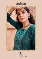 Kalaroop Pili Vol 2 Linen With Work Fancy Kurti Catalog