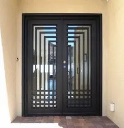 Brown Powder Coated MS Design Door, For Home, Thickness: 5 Mm