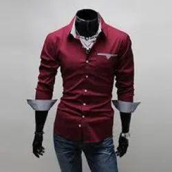 Plain Red Men Cotton Party Wear Shirt