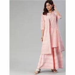 Divena常规粉红色和白色印花Kurta与Palazzos&夹克
