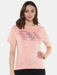 Half Sleeve Casual Wear Harbornbay Women Peach- Coloured Printed Round Neck T-shirt