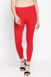 Lycra Plain Comfort Lady Ankle Length Leggings, Size: Free Size