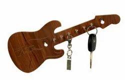 Brown Modern Wooden Guitar Key Holder, For Home