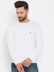 Brand: Harbornbay White Full Sleeve Round Neck Plain Cotton T- Shirt, Age Group: 15-45