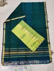 Cotton Maheshwari Printed Hand Block Unstitched Kurti with Dupatta