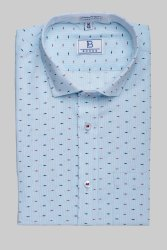 Boros Cotton Atlantic Light Blue Formal Mens Shirt, Machine wash