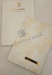 Embossed White Flower Golden Acrylic Motif Foil Printed Wedding Card Invitation Card