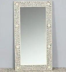 Floral Bone Inlay Mirror Frame