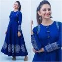 Casual Wear Full Sleeve 703 Ladies Blue Rayon Long Kurti, Size: Small