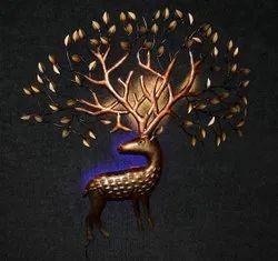Golden Iron Wall Deer Statue