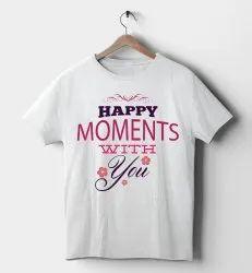 Half Sleeve Round Ladies Cotton Printed T Shirt