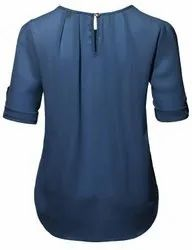 Formal Wear 3/4Th Sleeves Ladies Blue Cotton Top, Size: XL