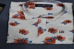 Jungle Man Cotton Men Trendy Printed Shirt, Size: 38