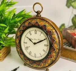 AMII Analog Handpainted Table Clock, Shape: Round, Size: 8 Inch