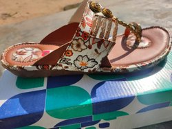Faux Leather Flats & Sandals Ladies Fancy Sandal, For Footwear