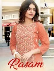 Ladies Flavour Rasam Cotton With Embroidery Work Kurti With Bottom Catalog