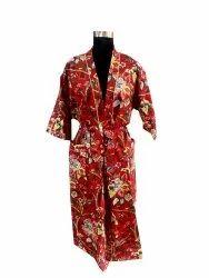 Bird Print Long Kimono Robe