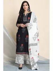 Janasya Women's Black Cotton Kurta With Palazzo and Dupatta(J0110)