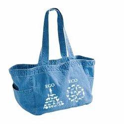 Dharas Blue (Base) Denim Side Pocket Tote Bag, Size: W16
