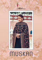 Eba Lifestyle Muskan Viscose Upada With Work Designer Suit Catalog