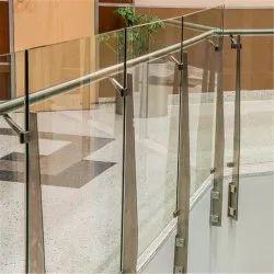Rectangular Bar Stainless Steel Balcony Glass Railing, For Home