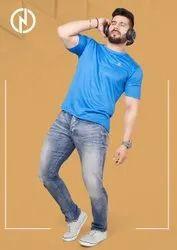 Unisex Blue Promotional Round Neck T Shirt
