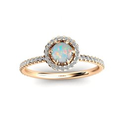 925 Sterling Silver White Fire Ethiopian Opal Stone Engagement Rings