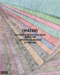 Water Lee Cotton White Yarn Dyed Shirting Fabric