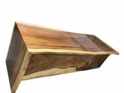 Brown Rectangular Live Edge Wooden Table, Thickness: 50 Mm, Size: 5 X 2 Feet(lxw)