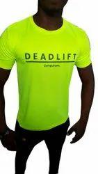 Male Yellow Cotton Gym T Shirt