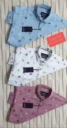 Slim Fit Mens Indigo Cotton Check Shirt, Size: S-xxl