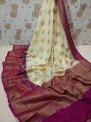 Wedding Wear Zardozi Work Banarasi Warm Silk Saree, 6.3 m (with blouse piece)