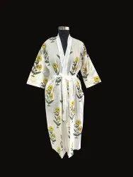 Hand Block Print Long kimono Robe