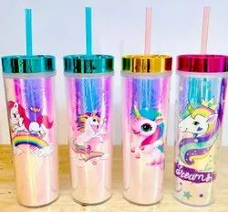 Unicorn print Beautiful Sipper Bottle, For Water Storage, Size: 8 X 6 X 1.5 Inches
