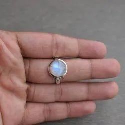 Natural Rainbow Moonstone Round Cabochon Semi Precious Gemstone Ring