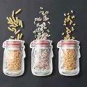 Airtight Reusable Jar Shaped Seal Plastic Food Storage Standup Zipper Pouch (Transparent)