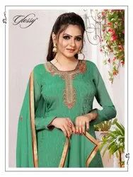 Glossy Noor Pure Viscose Chinon Embroidery Work Designer Suit Catalog