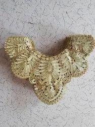 8 INCH Golden Diamond Fancy Zari Neck Lace, For Garment