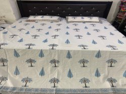 Jaipuri Block Hand Print Bedsheet with two Pillow