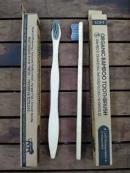 Bamboo Toothbrush S Curve With Grey Activated Charcoal Bristles.