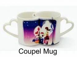 White(Base) Printed Sublimation Couple Mug, Capacity: 250 Ml