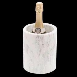 Italian White Marble Wine Chiller Holder