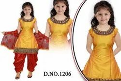 Tafeta Stitched Girls Round Neck Patiala Suit, Dry clean