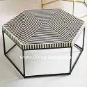 Round Monochrome Bone Inlay Coffee Tables