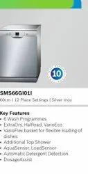 SMS66GI01I Installation Type: Freestanding 12 Place Setting Bosch Silver Inox Dishwasher