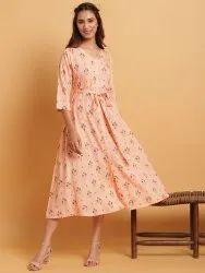 Janasya Women's Peach Rayon Western Dress(JNE3625)