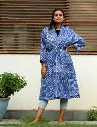 Blue Indigo Patchwork Short Kimono Robe