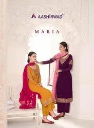Aashirwad Creation Maria Georgette Designer Salwar Suit Catalog